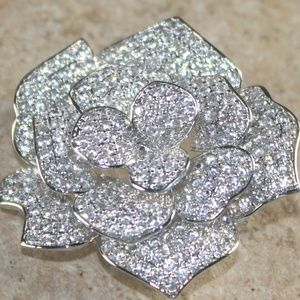 White Topaz CZ Rose Flower Brooch Pin
